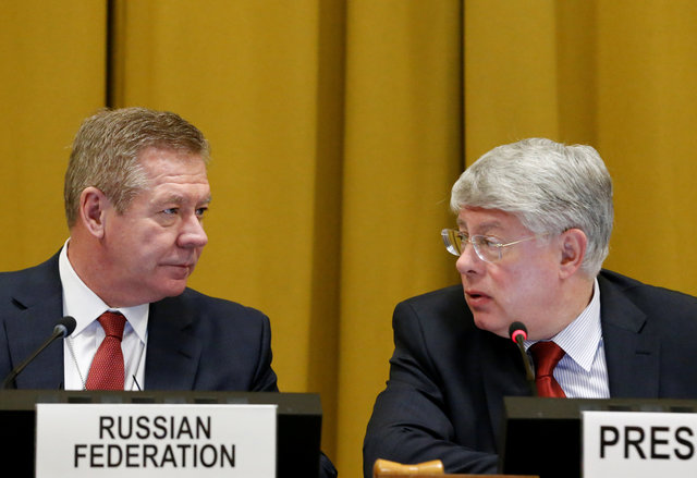Russian deputy minister of foreign affairs Gennady Gatilov (L) talks with Russia's ambassador to the UN Alexey Borodavkin before his address at the Conference on Disarmament at the UN in Geneva, Switzerland February 28, 2017. Credit: Reuters