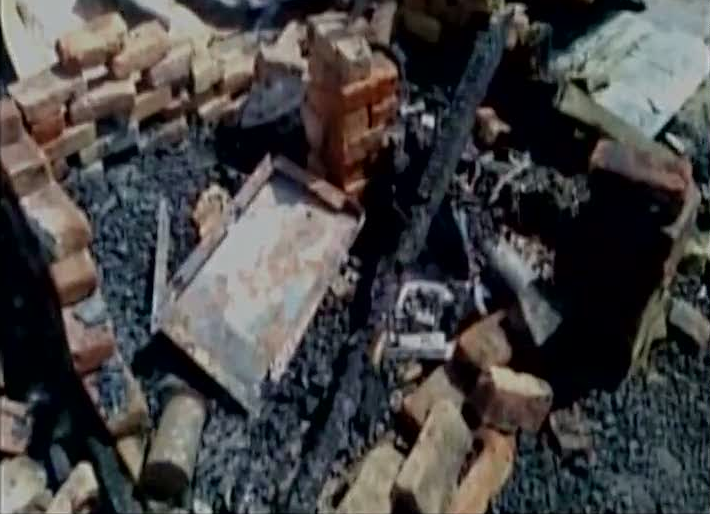 Three meat shops were burnt in UP's Hathras district. Credit: ANI/Twitter