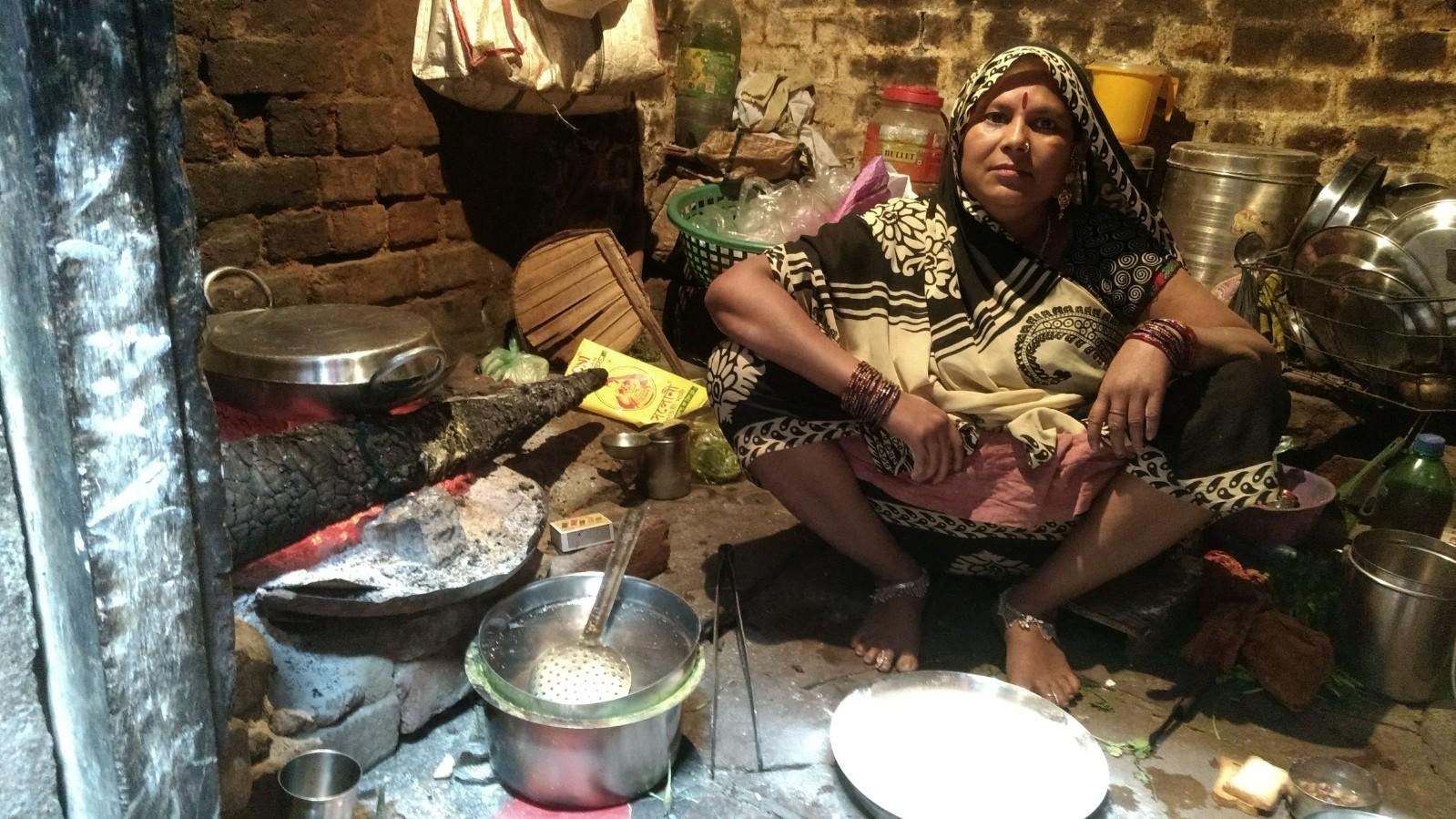 Sandhika Devi in her kitchen in the Dom basti, Varanasi. Credit: Titash Sen