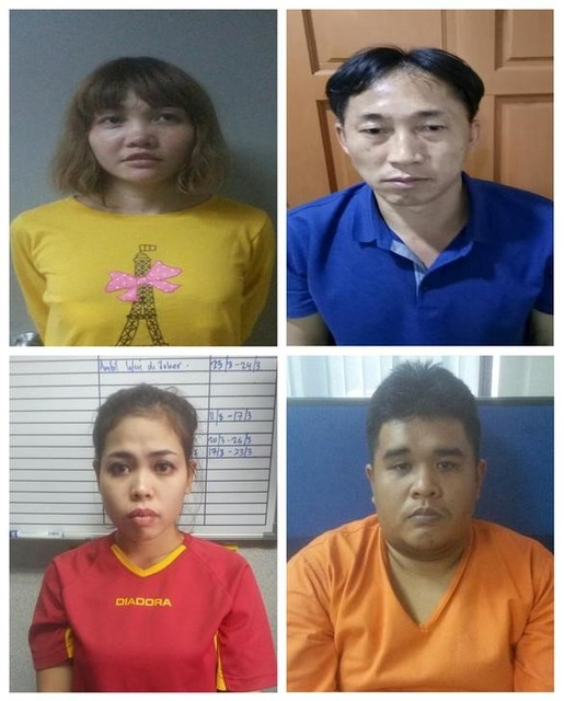 Suspects Vietnamese Doan Thi Huong (top L), North Korean Ri Jong Chol (top R), Indonesian Siti Aisyah (bottom L) and Malaysian Muhammad Farid Bin Jallaludin (bottom R) are seen in this combination of undated handouts released by the Royal Malaysia police to Reuters on February 19, 2017. Credit: Reuters