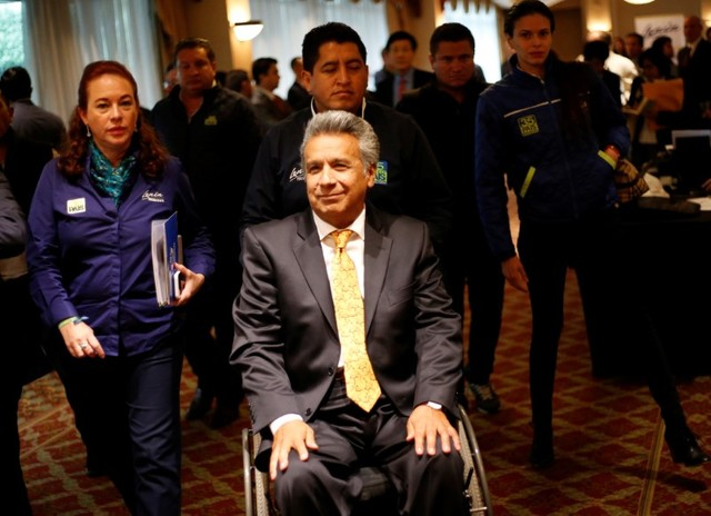 Lenin Moreno, presidential candidate of the ruling PAIS Alliance party, arrives to gives a speech to the media in Quito, Ecuador March 27, 2017. Credit: Reuters
