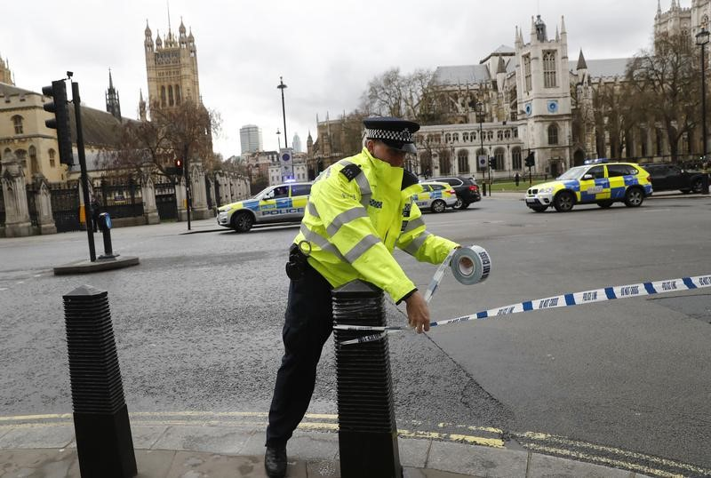 Police tapes off Parliament Square after reports of loud bangs, in London, Britain, March 22, 2017. Credit: Reuters/Stefan Wermuth