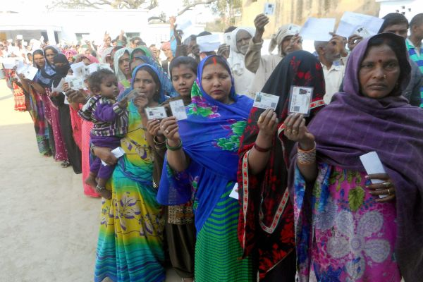 Women voters line up in Mau, Uttar Pradesh. Credit: PTI