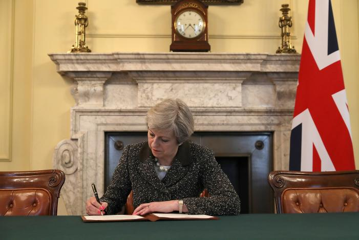 UK PM Theresa May Signs Letter to Trigger Brexit