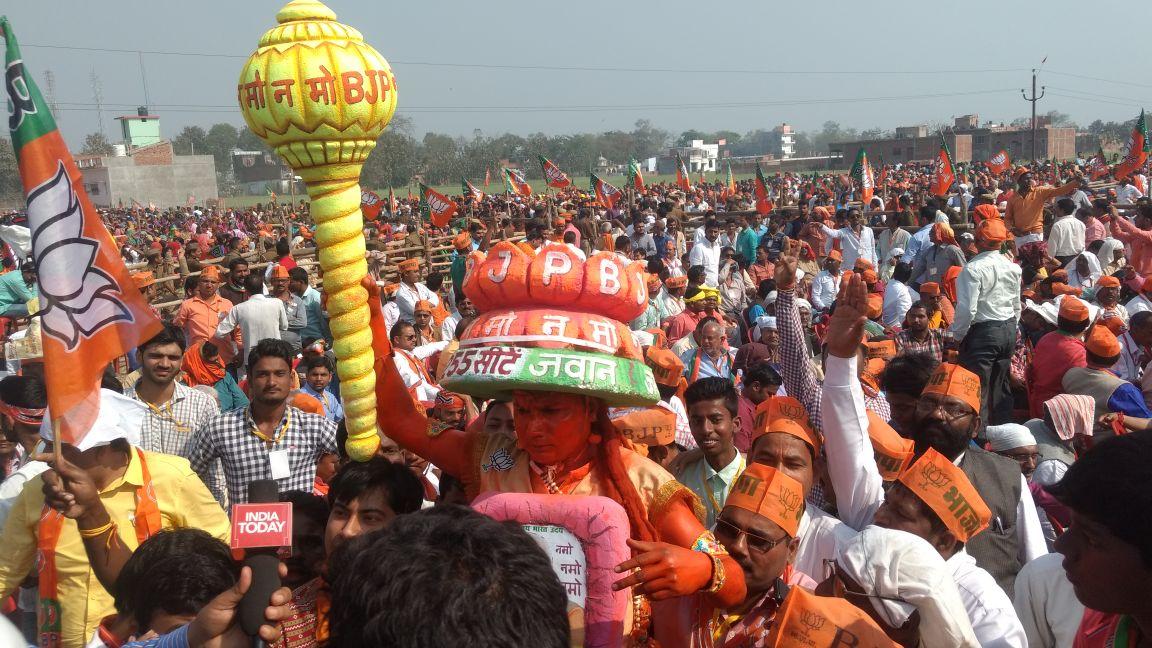 People attending Modi's rally in Deoria. Credit: Titash Sen