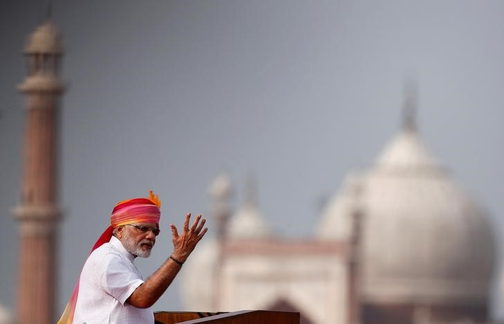 Indian Prime Minister Narendra Modi gestures as he addresses the nation from the Red Fort during Independence Day celebrations in Delhi. Credit: Reuters/Adnan Abidi