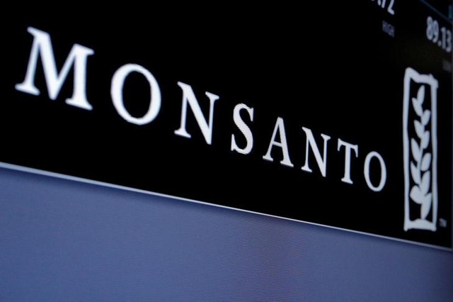Monsanto logo is displayed on a screen where the stock is traded on the floor of the New York Stock Exchange (NYSE) in New York City, US on May 9, 2016. Credit: Reuters/Brendan McDermid/File Photo