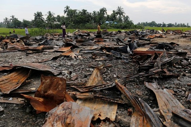 The ruins of a market which was set on fire are seen at a Rohingya village outside Maugndaw in Rakhine state, Myanmar October 27, 2016. Picture taken October 27, 2016.  Credit: Soe Zeya Tun/Reuters/Files