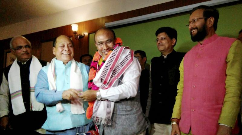 N. Biren Singh after he was elected the leader of the BJP's legislative party. Credit:PTI