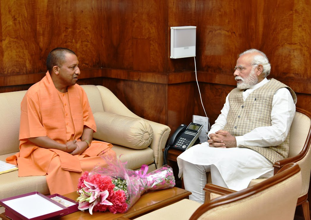 Narendra Modi and Yogi Adityanath. Credit: PMO/Twitter