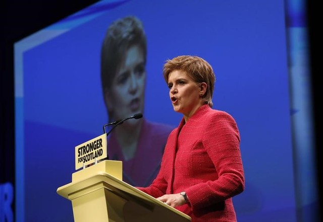 Party leader Nicola Sturgeon speaks at the Scottish National Party's conference in Aberdeen, Scotland, Britain March 18, 2017. Credit: Reuters/Russell Cheyne