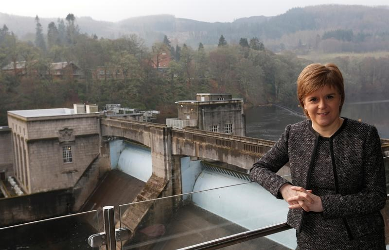 Scotland's First Minister Nicola Sturgeon poses for a photograph at SSE's new Pitlochry Dam Visitor Centre, in Pitlochry, Scotland, Britain, February 6, 2017. Credit: Reuters/Russell Cheyne/Files