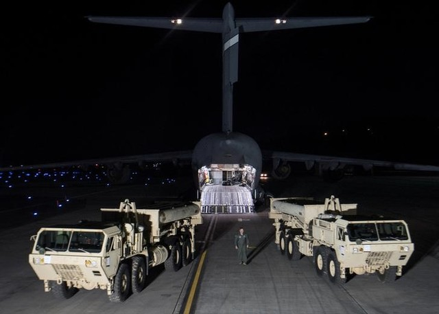 Terminal High Altitude Area Defense (THAAD) interceptors arrive at Osan Air Base in Pyeongtaek, South Korea, in this handout picture provided by the US Forces Korea (USFK) and released by Yonhap on March 7, 2017. Credit: Reuters