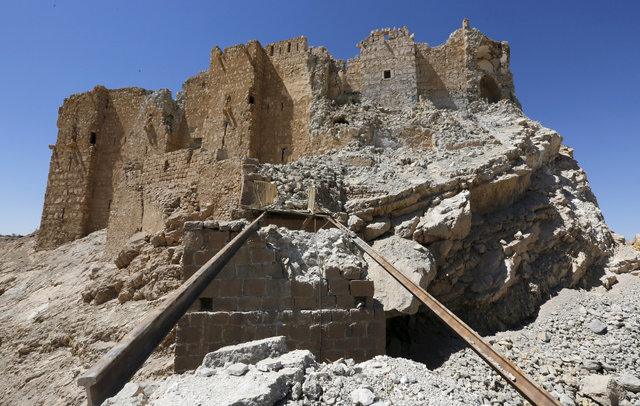 A view shows the damage at Fakhreddin's castle, known as Palmyra castle, on the outskirts of the historic city of Palmyra, in Homs Governorate, Syria April 1, 2016. Credit: Reuters