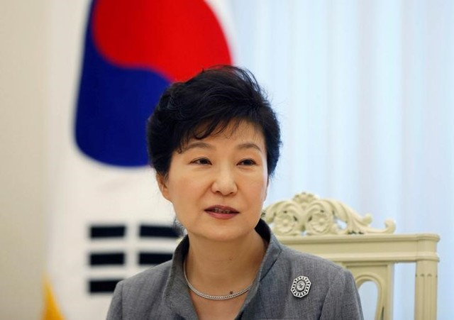 South Korean President Park Geun-hye speaks during an interview with Reuters at the Presidential Blue House in Seoul September 16, 2014. Credit: Reuters