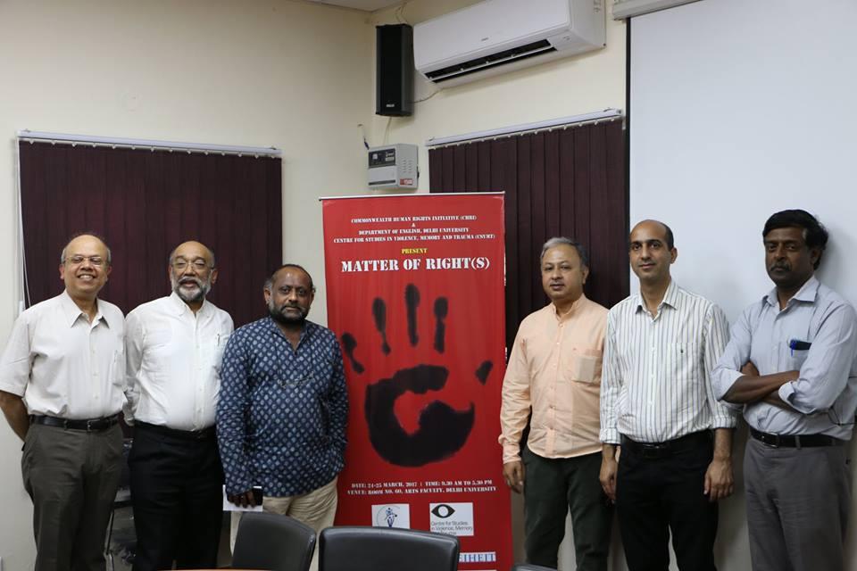 (L-R) DU professor Subarno Chattarji, CHRI director Sanjoy Hazarika, filmmaker Harshawardhan Varma, filmmaker Utpal Borpujari, filmmaker Abir Bazaz, CHRI manager Mohan Sundaram. Credit: Samarth Pathak