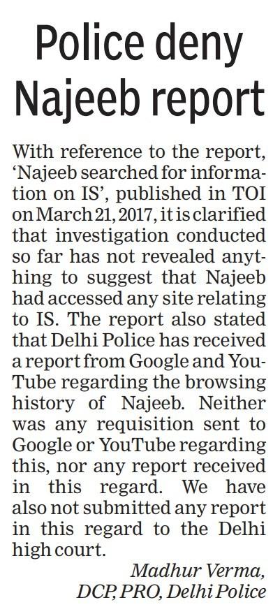 Police clarification