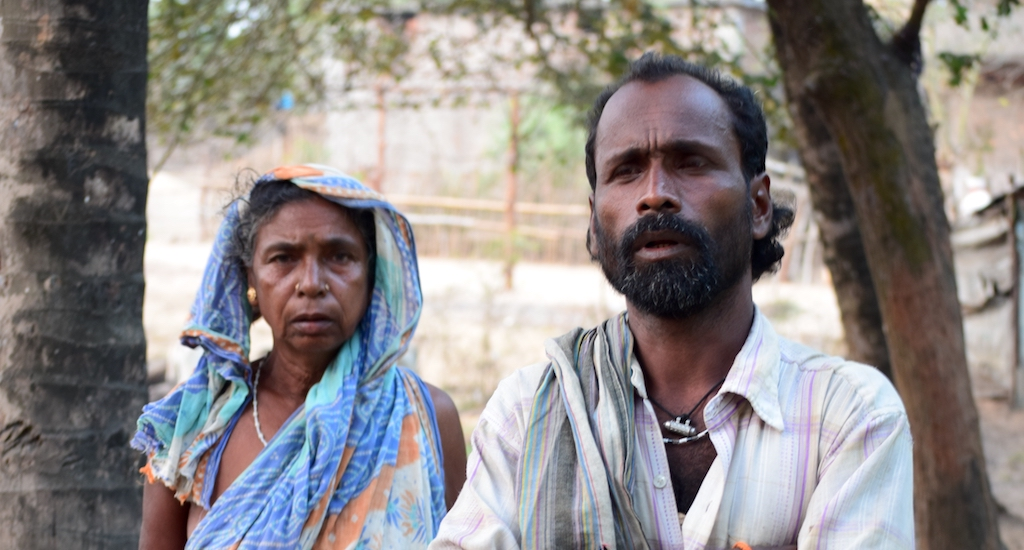 An anguished Gouri Das, seen here with her son Ranjan Das, has lost her land to the now-abandoned steel project. Credit: Basudev Mahapatra/Village Square