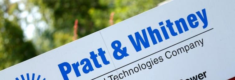 The logo of Dow Jones Industrial Average stock market index listed company United Technologies and their subsidiary Pratt and Whitney. Credit: Reuters