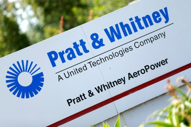 The logo of Dow Jones Industrial Average stock market index listed company United Technologies and their subsidiary Pratt and Whitney is pictured in San Diego, California April 21, 2016. Credit: Reuters