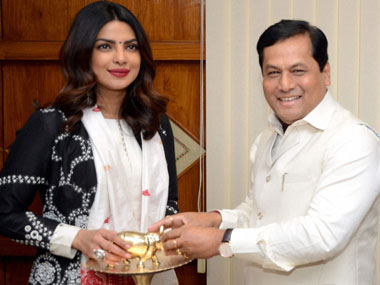 Priyanka Chopra with Assam chief minister Sarbananda Sonowal Photo- PTI