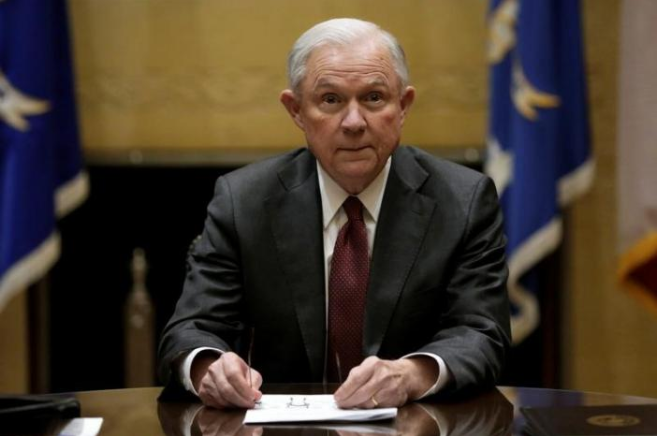 US Attorney General Jeff Sessions holds his first meeting with heads of federal law enforcement components at the Justice Department. in Washington US, February 9, 2017. Credit: Yuri Gripas/Reuters