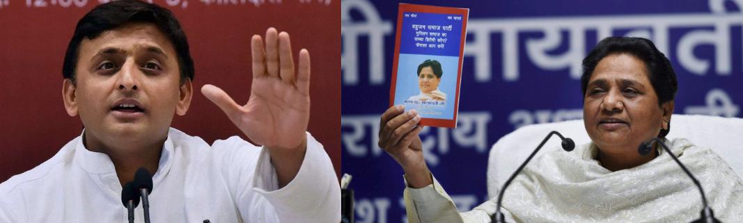 Akhilesh Yada (left) and Mayawati. Credit: PTI
