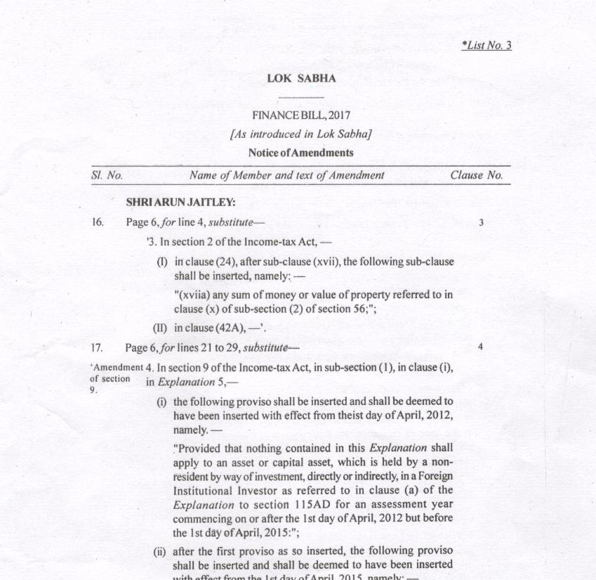 A screenshot of the Finance Bill 2017's amendments. Credit: The Wire