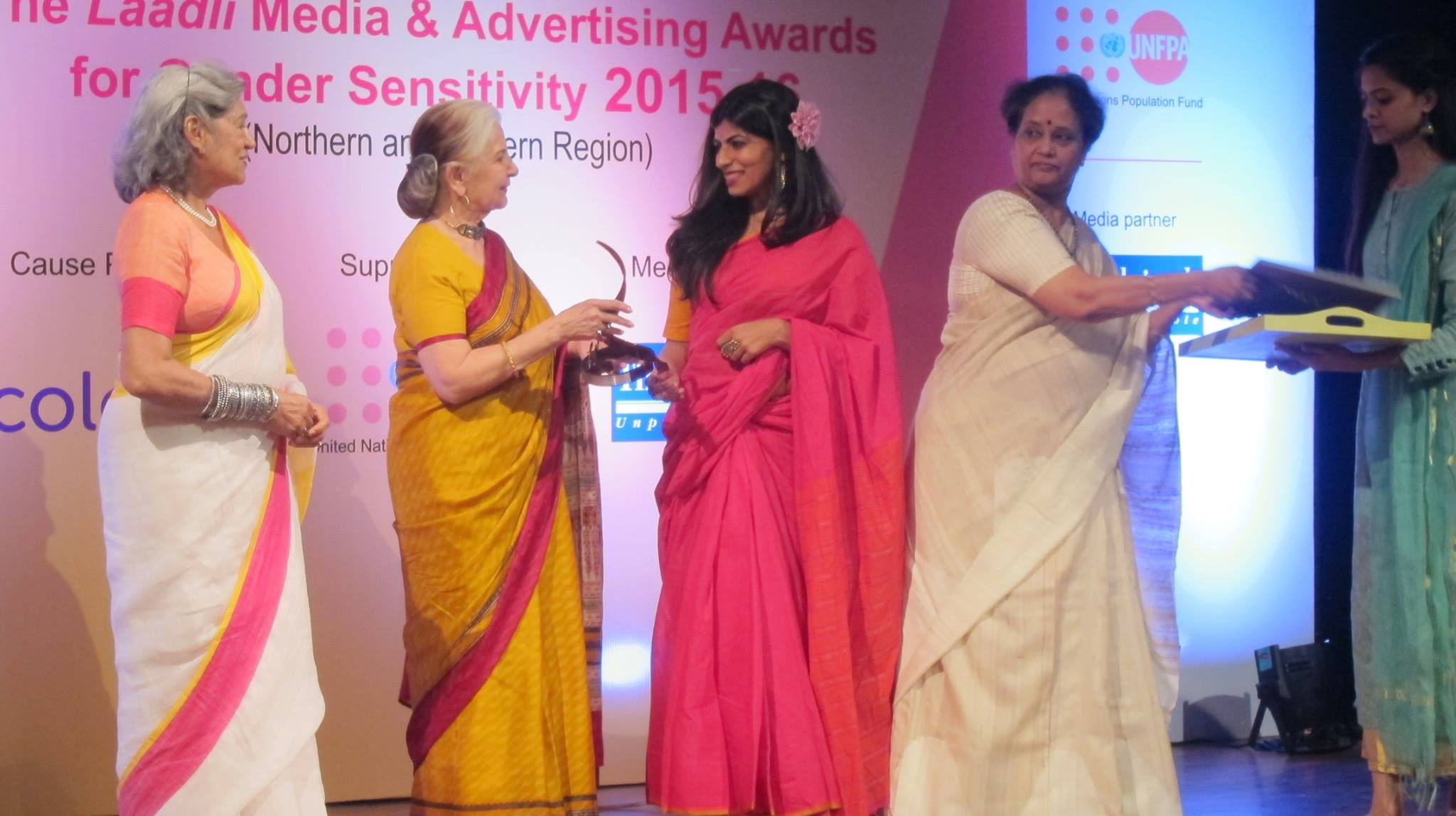Shreya Ila Anasuya receiving the Laadli Award on Thursday. Credit: Ila Sanghani/Facebook