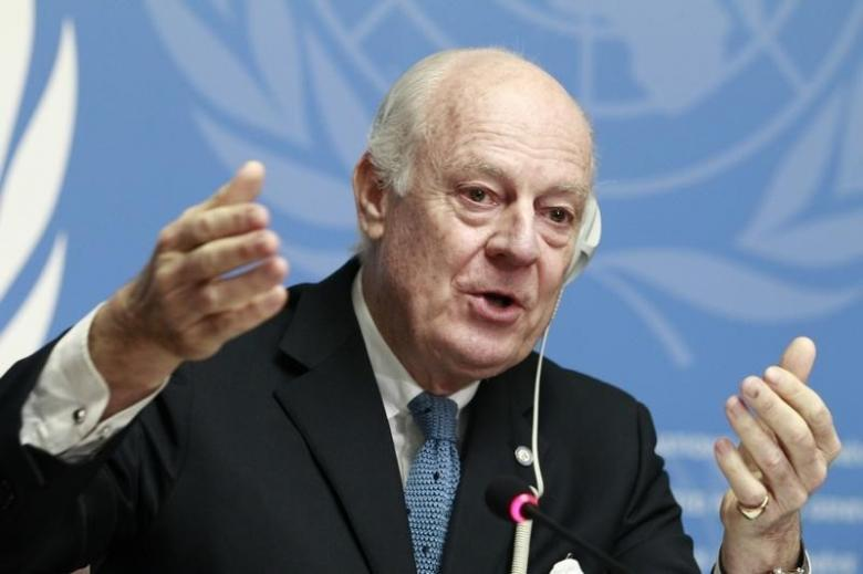 UN special envoy of the Secretary-General for Syria Staffan de Mistura speaks to media during a news conference at the Palais des Nations in Geneva, January 15, 2015. Credit: Reuters