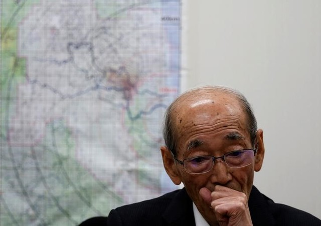 Tamotsu Baba, mayor of Namie town, speaks during an interview with Reuters at his office in the town's temporary town office in Nihonmatsu, Fukushima prefecture, Japan, February 27, 2017. Credit: Reuters