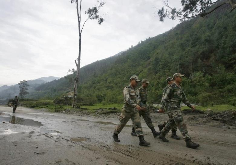Indian army soldiers march near an army base on India's Tezpur-Tawang highway in Arunachal Pradesh May 29, 2012. Credit: Reuters/Frank Jack Daniel/Files