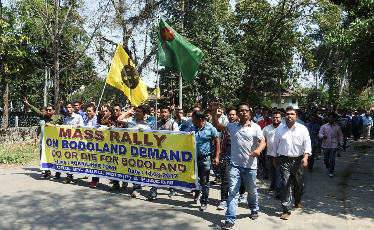 A rally taken out through Kokrajhar town on March 15. Credit: Special arrangement