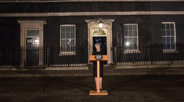 UK's Prime Minister Theresa May makes a statement in Downing street in London, UK, March 22, 2017 following the attack in Westminster. Credit: Reuters