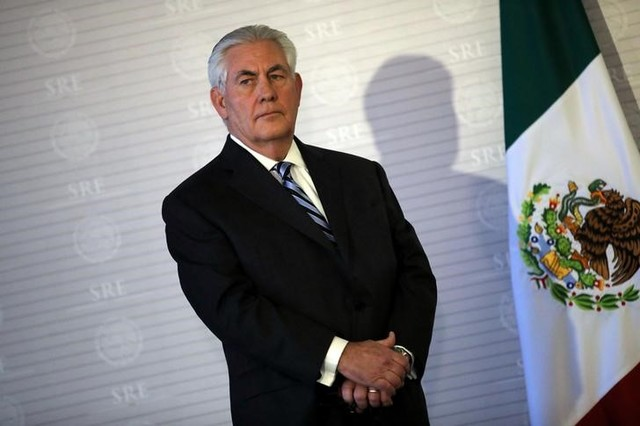 US secretary of state Rex Tillerson stands next to a Mexican flag during a join statement with Mexico's foreign secretary Luis Videgaray at the Ministry of Foreign Affairs in Mexico City, Mexico on February 23, 2017.  Credit: Reuters/Carlos Barria/Files
