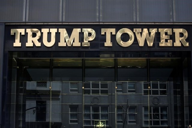The Trump Tower logo is pictured in New York, US, May 23, 2016. Credit: Carlo Allegri/Reuters/Files