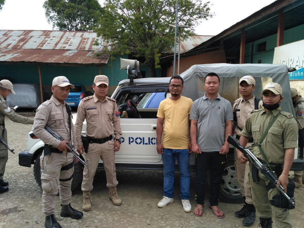 The two accused in the assault case in Churachandpur have been taken into custody. Credit: Special arrangement