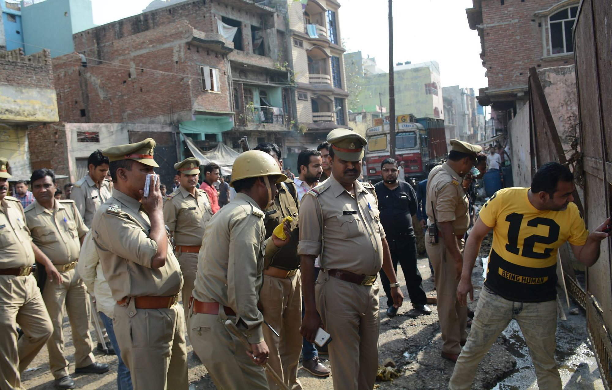 Policemen raid a slaughterhouse in Moradabad on Wednesday.