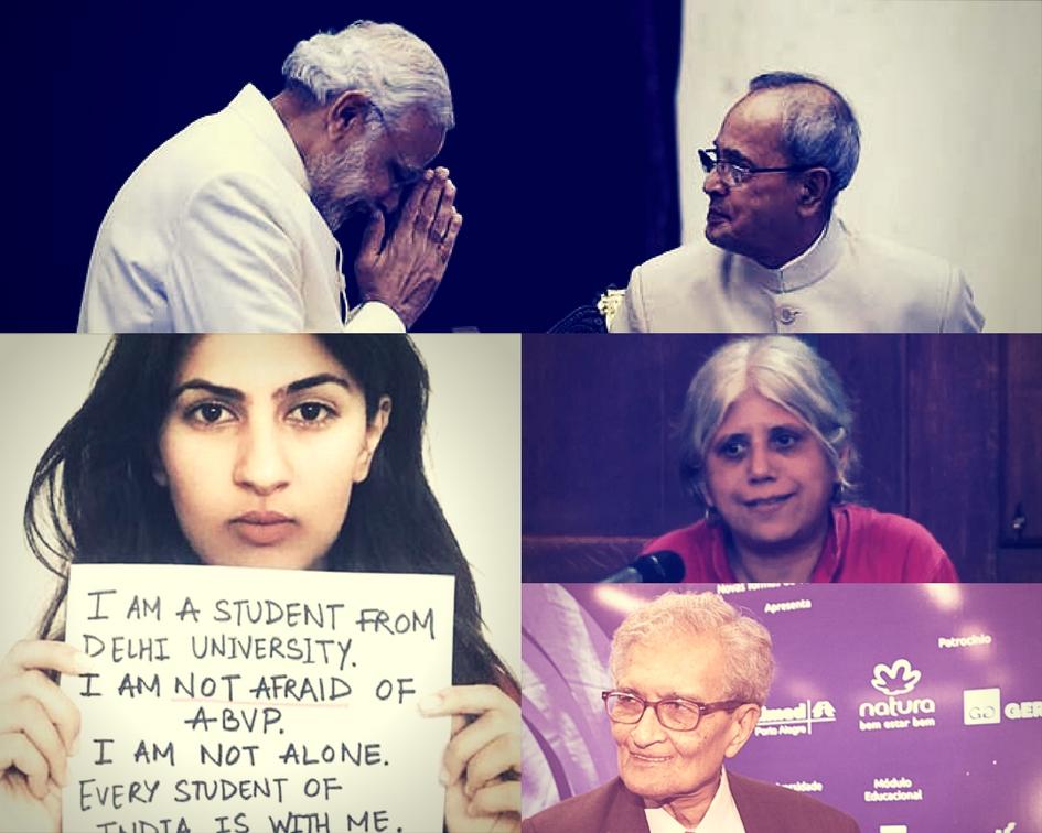 Clockwise: Prime Minister Narendra Modi and President Pranab Mukherjee (PTI), Bela Bhatia, Amartya Sen, Gurmehar Kaur