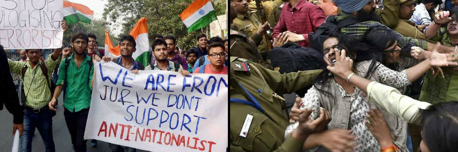 Where has the spirit of studentship disappeared? Credit: PTI(left), Twitter