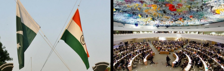 India and Pakistan's flags and the UNHCR room in Geneva. Credit: Reuters