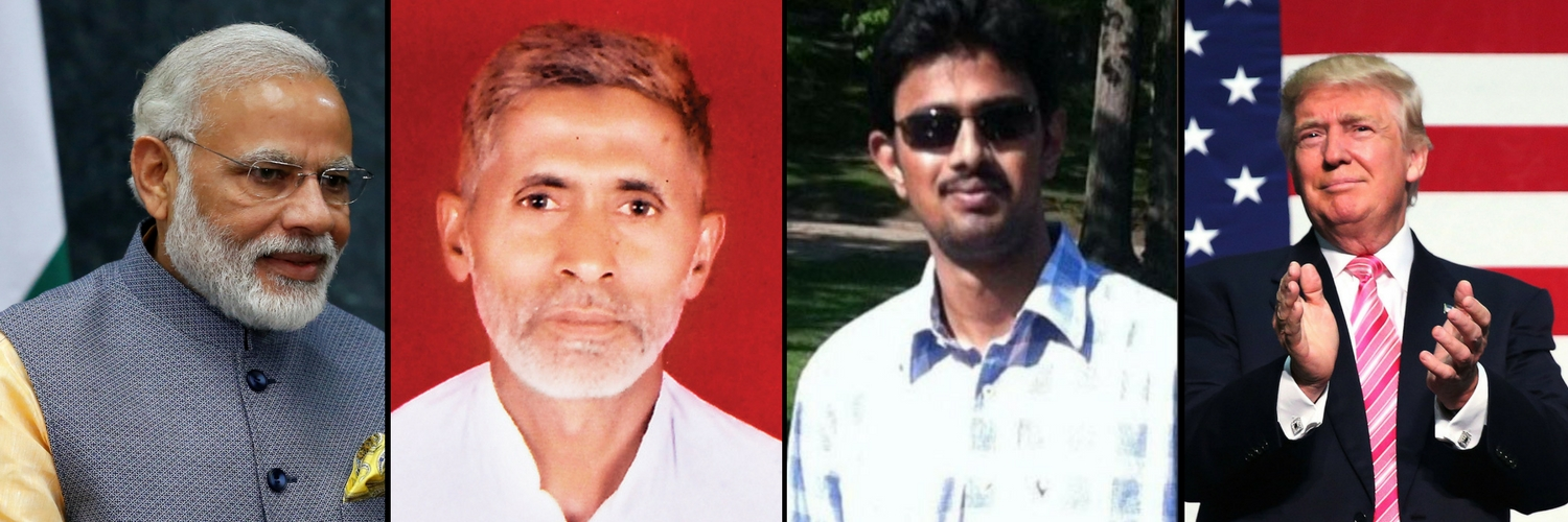 The killing of Kuchibhotla – an Indian in the US – is a reminder of the lynching of Mohammad Akhlaq in Dadri, Uttar Pradesh. Credit (L-R): PTI/PTI/GoFundMe/Reuters