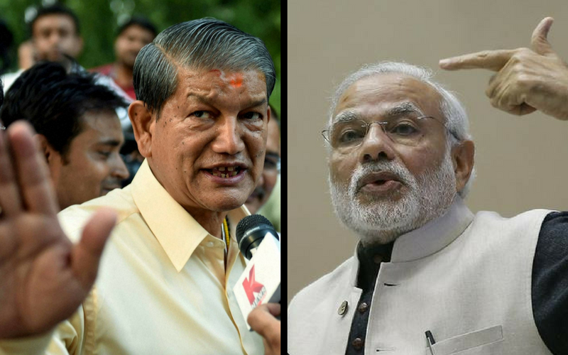 Chief Minister Harish Rawat (L) and Prime Minister Narendra Modi. The BJP and the Congress and fighting neck-and-neck in Uttarakhand.