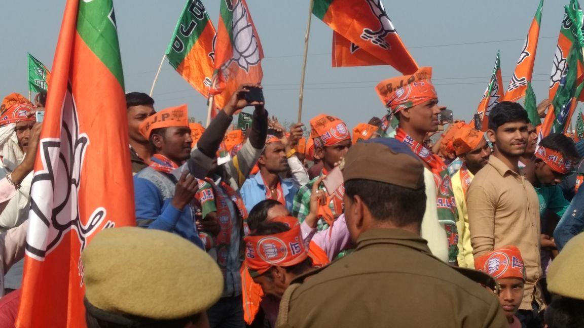 BJP supporters cheer at Prime Minister Narendra Modi's rally in Deoria. Credit: Titash Sen