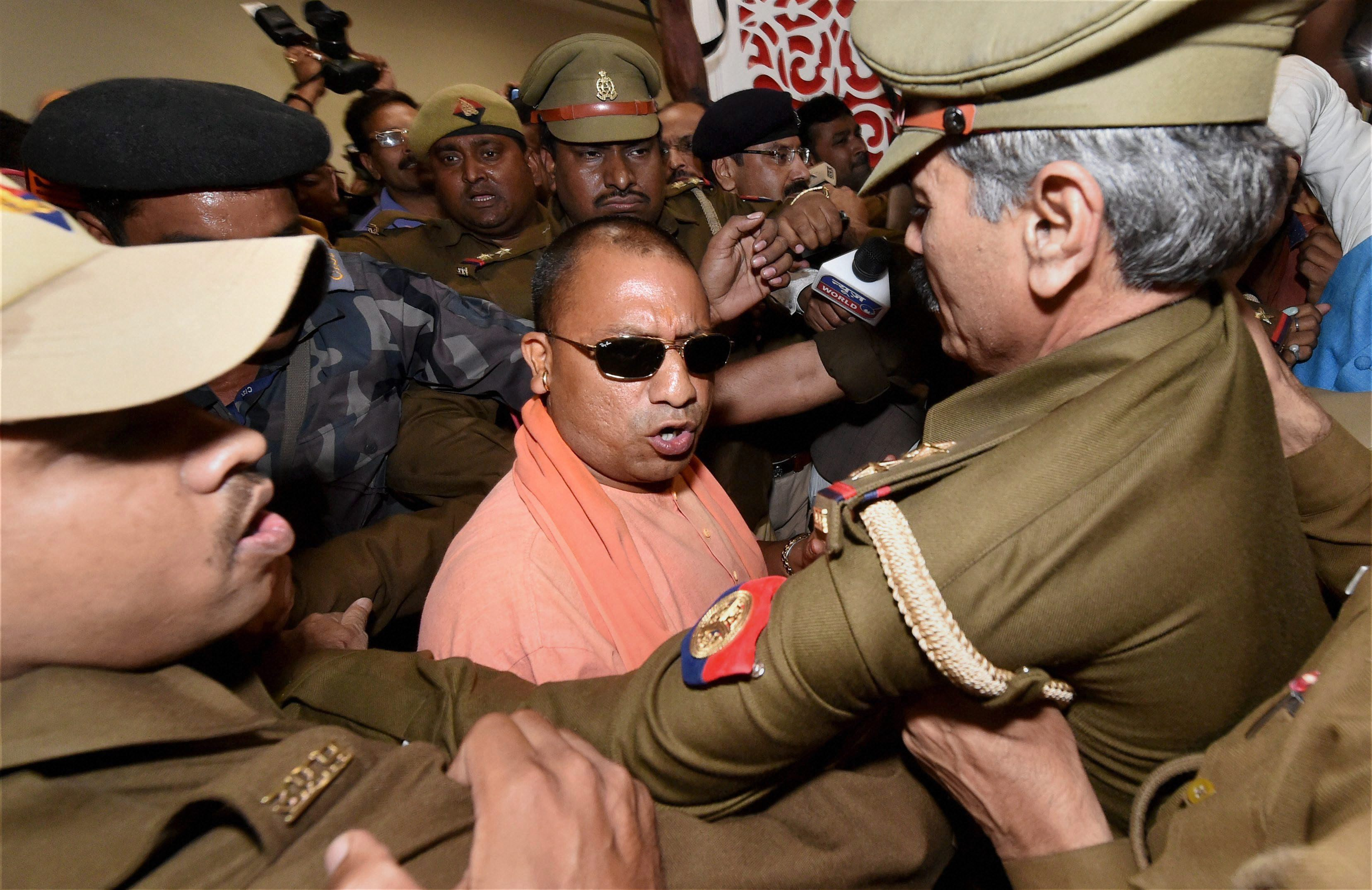 Yogi Adityanath arrives to attend the BJP's legislature party meeting in Lucknow Credit: PTI/Nand Kumar/Files