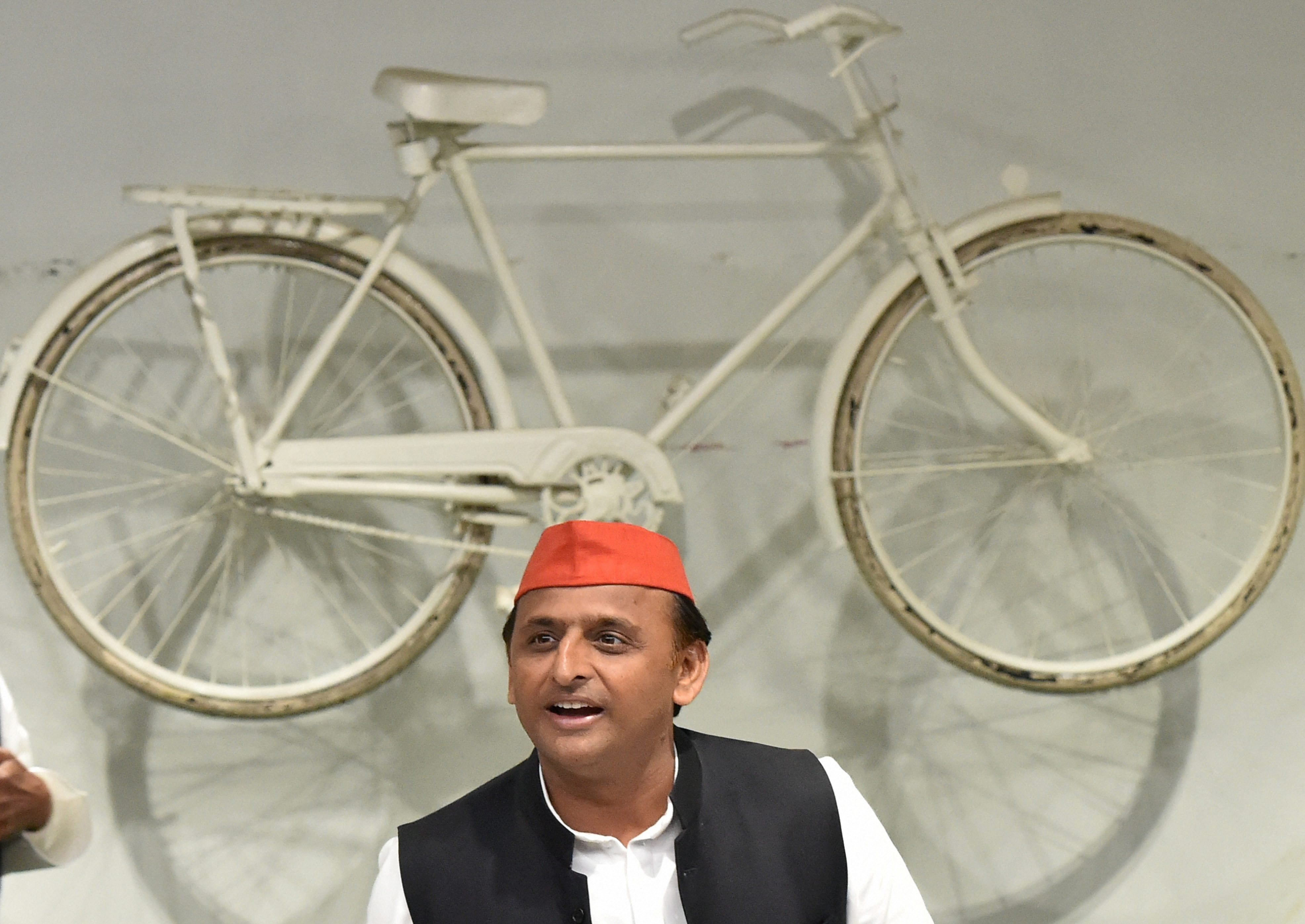 Uttar Pradesh Chief Minister Akhilesh Yadav addresses a press conference at party headquarters in Lucknow on Friday. Credit: PTI Photo by Nand Kumar