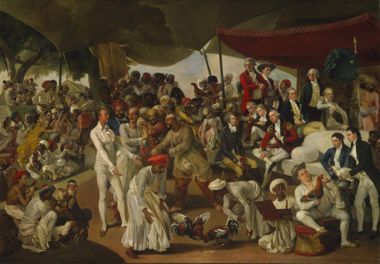 Colonel Mordaunt's Cock Match c.1784-6 Johan Zoffany 1733-1810