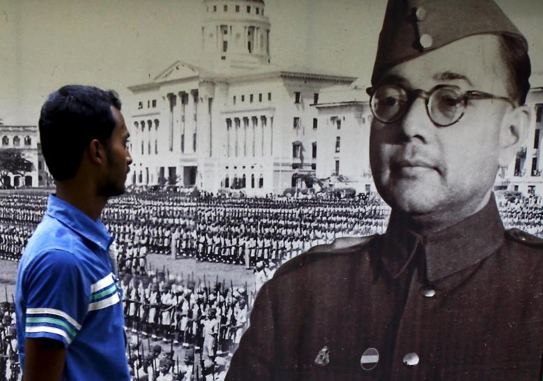 A visitor looks at a picture of Subhas Chandra Bose, former leader of the Indian National Army, at a museum in Kolkata, India, October 16, 2015. REUTERS/Rupak De Chowdhuri