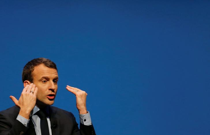 Emmanuel Macron, head of the political movement En Marche !, or Onwards !, and candidate for the 2017 presidential election, attends a meeting in Talence near Bordeaux, south-western France March 9, 2017. Credit: Regis Duvignau/Reuters