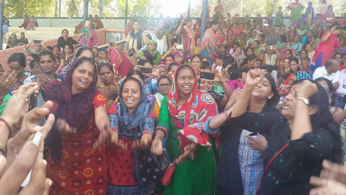 Celebrating Women's Day in detention: Anganwadi workers at police headquarters, Shahibaug. Credit: Damayantee Dhar